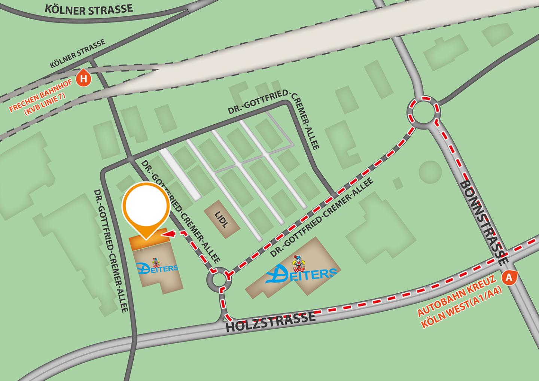 Beschreibt die Anfahrt bei der Firma Krott GmbH & CO. KG über Holzstraße oder Autobahn A1/A4