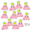 12 x Pinker Haufen mit Krone 13 cm